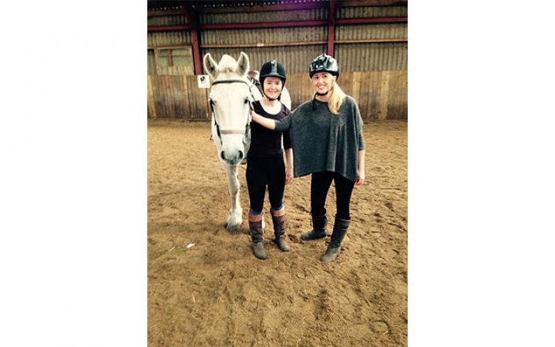 Nichol Wilkinson after her first time riding a horse, smiles all round